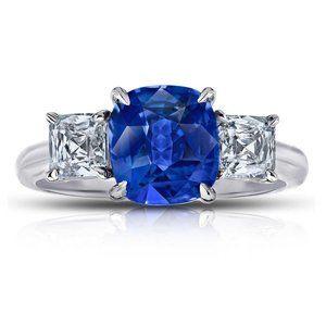 Ceylon sapphire with diamond Cushion princess cut